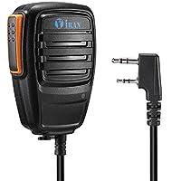 Y iran Micrófono para Walkie Talkie, mano altavoz-micrófono para radio de banda dual, Negro (1 PCS)