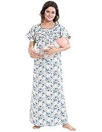 0c7e37e186 TUCUTE Women s Cotton Crush Printed Feeding Maternity Nursing Nighty Style