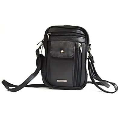 Unisex Genuine Leather Cross Body Bag with Multiple Zipped Pockets and Glasses / Mobile Phone Pocket (Black)