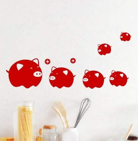CMMO Glückliches Tier rotes Schwein Wandaufkleber Steuern Dekor Wohnzimmer Fenster Glas Dekoration PVC Chinese New Year Decals Wandbild DIY Wal