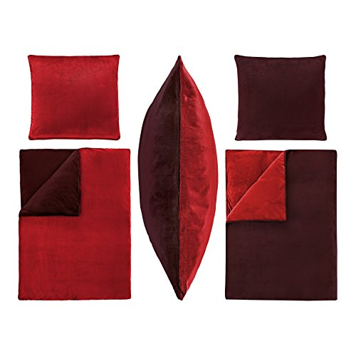 2-Teilige Bettwäsche Set Bezug Bett Übergröße 155x220cm Kissen 80x80cm PLÜSCH Coral Fleece Cashmere Touch Super Weich Soft Einfarbig UNI Wende 2tlg 155x220 Bordeaux Rot (Cashmere-fleece)