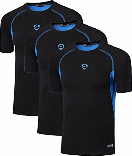 Jeansian Men's 3 Packs Sport Slim Quick Dry Short Sleeves Compression T-Shirt Tee LSL154