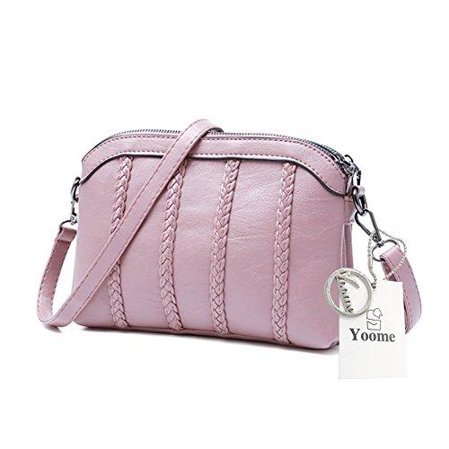 Yoome Retro Pure Colour Streakiness Dome Borse grandi di capacità in pelle morbida borse per le donne - Rosso Rosa