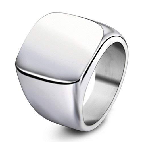 YUUHII ATR Herren-Ring, Edelstahl, quadratisch, klassisch, Geschenk für Ehemann, Vater, Silber, Größe 7-15# (Größe 14 Verlobungsringe Für Männer)