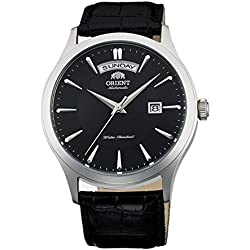 Orient Men's 41mm Black Leather Band Steel Case Automatic Analog Watch FEV0V003BH