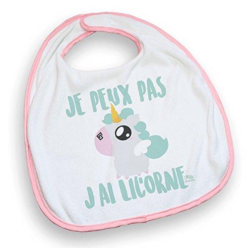 Bavoir rose Je peux pas j'ai licorne chibi et kawaii by Fluffy chamalow - Fabriqué en France - Chamalow Shop