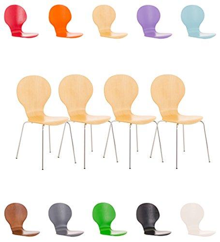 CLP 4X Stapelstuhl Diego l Ergonomisch geformter Konferenzstuhl mit Holzsitz und Metallgestell I Stapelbarer Stuhl mit pflegeleichter Sitzfläche Natura