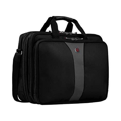 """Wenger 600655 LEGACY 17"""" Triple-Gusset Laptop-Tasche, Flughafen freundlich mit iPad / Tablet / eReader Tasche in Schwarz / Grau {19 Liter}"""