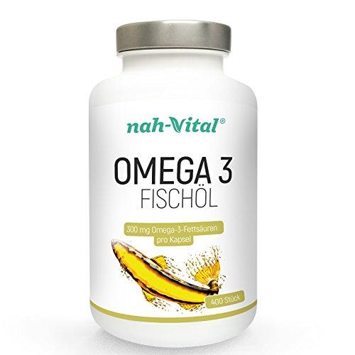 nah-vital Omega 3 Fischöl | 400 Tage | 400 Kapseln mit je 300mg Omega-3 | vegan, kristallzuckerfrei, laktosefrei | deutsche Premiumqualität