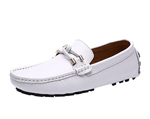 Icegrey Herren Leder Halbschuhe Boat Schuhe Weiß