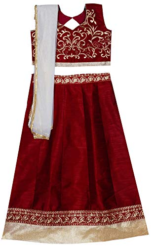Parampara Girls Maroon Semi Stitched Lehenga Choli for 8 to 12 Years Kids Girls (Maroon_008PKDLC)