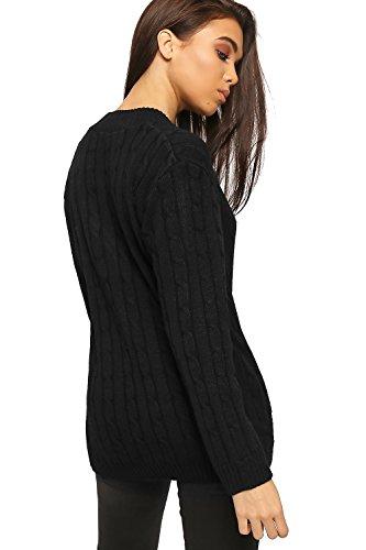 WearAll - Câble-tricoté pull top avec manches longues et col V haut - Tailles 36 à 44 Noir