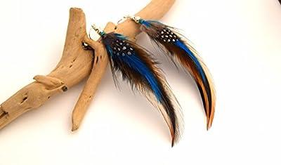 Boucles d'oreilles plumes Kewanee - Ethnic Feather - plume bleue, noire, marron