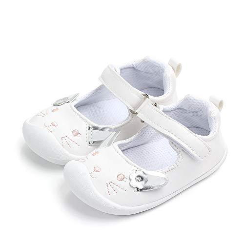 LACOFIA Baby Mädchen Ballerinas Kleinkind Klettverschluss Rutschfest Lauflernschuhe Hase Weiß 12-18 Monate