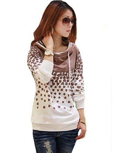 MatchLife Femme Capuche Dots Casual Sweatshirts avec Poches Blanc
