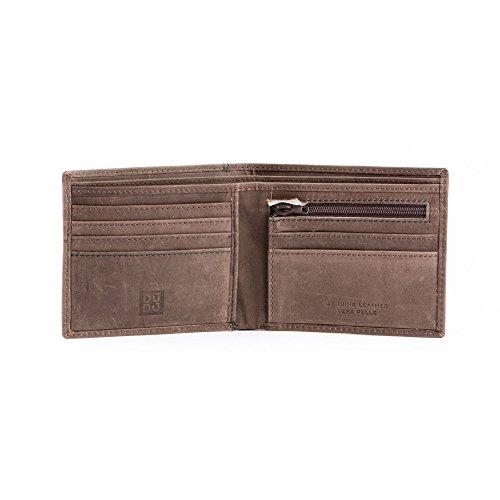 Portafoglio uomo vintage in vera pelle vissuta portamonete e carte con zip DUDU Marrone scuro