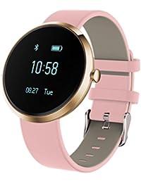 zolimx Nuevo Smart Bluetooth pulsera reloj V06 presión arterial Sport pulsómetro(Color de rosa)