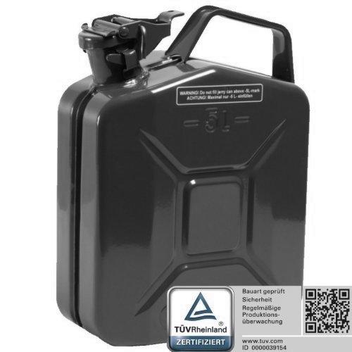 Oxid7® Benzinkanister Kraftstoffkanister Metall 5 Liter schwarz mit UN-Zulassung - TÜV Rheinland Zertifiziert - Bauart geprüft - für Benzin und Diesel