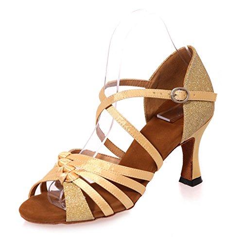 Sandali Di Cuoio artificiali Di Scarpe Da Ballo Latino Delle Donne Con I Grandi Giardini Multicolori Di 7.5cm Gold