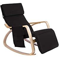 WOLTU Relax Rocking Chair Black Lounge Chair Relax Chair with Soft Cushion & Footrest