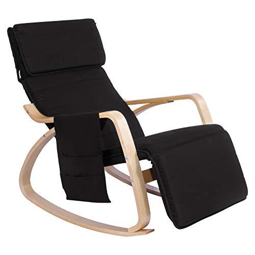 WOLTU® Schaukelstuhl SKS02sz Relaxstuhl Sessel Schaukelsessel Schwingsessel 5-Fach verstellbares Fußteil mit Seitentasche Leinen Holz Schwarz -