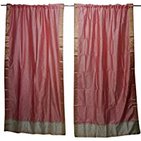 Mogul Interior 2 Indian Sari Curtain Drape Peach Window Treatment Party Decor 84x44