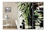 AnazoZ Duschvorhang Anti-Schimmel, Wasserdicht Vorhänge an Badewanne Antibakteriell, Bad Vorhang für Dusche 3D Wasser Bambus Steine, 100% PEVA, inkl. 12 Duschvorhangringen 120 x 180 cm
