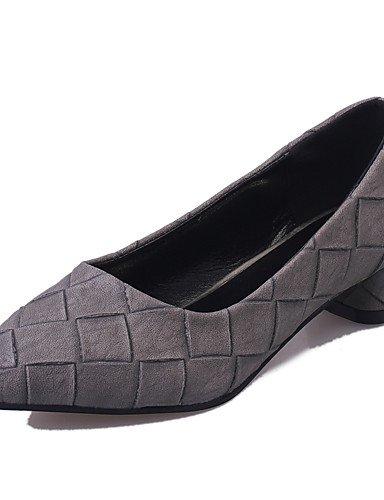 WSS 2016 Chaussures Femme-Bureau & Travail / Soirée & Evénement / Décontracté-Noir / Vert / Gris / Beige-Gros Talon-Talons / Bout Pointu- black-us5.5 / eu36 / uk3.5 / cn35
