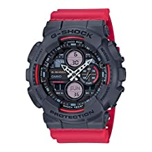 CASIO Mens Analogue-Digital Watch with Resin Strap GA-140-4AER - Grey Red