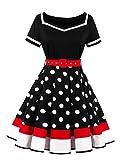 VKStar® Retro Kleider 50er 60er Abendkleid kurzarm Cocktailkleid mit punkten Vintage Kleider Sommer Rockabilly Schwarz XL