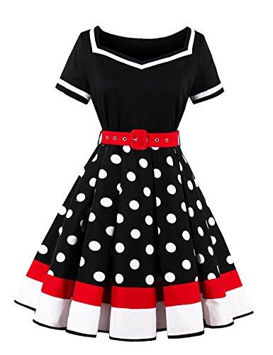 VKStar® Retro Kleider 50er 60er Abendkleid kurzarm Cocktailkleid mit punkten Vintage Kleider Sommer Rockabilly Schwarz (60er Frauen)