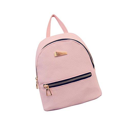 OULII Mini Rucksack Leder mit Reißverschluss Damen modische kleine Daypack Schultasche Mädchen (Rosa) (Rucksack Mini Mädchen)