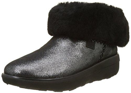 FitFlop Damen Mukluk Shorty 2 Shimmer Boots Kurzschaft Stiefel, Schwarz (Schwarz), 38 EU (Mukluk Damen)