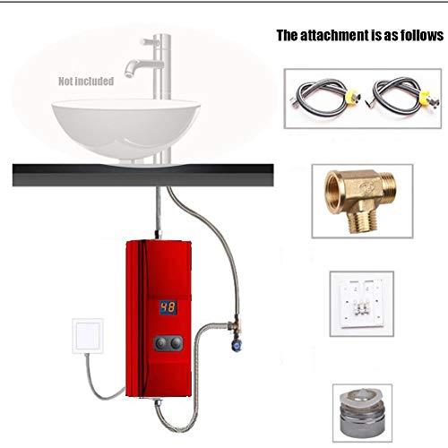 BTSSA Mini Tankless Elektrischer Durchlauferhitzer,Sofortiger Water Heater für Badezimmer + Elektrisch Duschkopf, Elektronisch Tragbarer Durchlauferhitzer für den Außenbereich,2