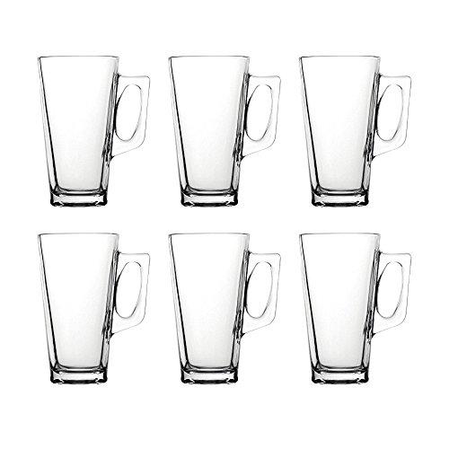 """Pasabahce 55249 - Teeglas mit Henkel \""""Vela\"""" 385ml für Tee, Latte Macchiato, Irish Coffee, Punsch, Glühwein, Heiße Schokolade, 6er Set"""