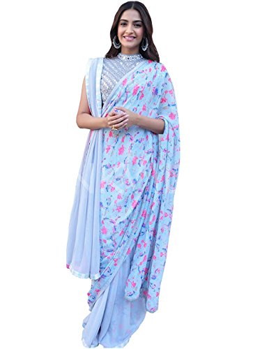 Sonam Kapoor Sky Blue Digital Georgette Print Replica Saree  available at amazon for Rs.1275