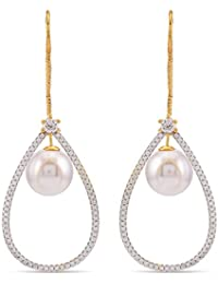 Tistabene Retails Sui Dhagha Pearls And Chains Dangler Earrings | AD American Diamonds Dangler Earrings | Gold...