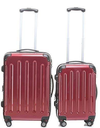 i-mex TOP-Preis - Hartschalen-Trolleyset 2-teilig 65 + 55 cm, 4 Rollen, Dehnfalte, Farbe: rot, Trolley - Koffer - Set
