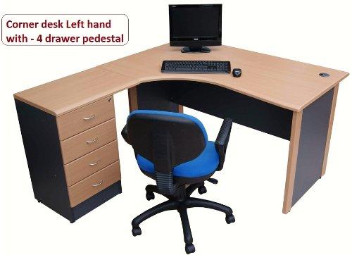 Computer-Corner-desk-Left-hand-with-4-drawer-pedestal-an-ideal-office-desk-for-Home-Office