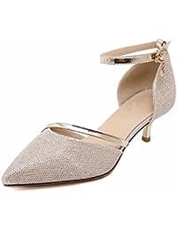 TGKHUS Las Señoras Palabra Sandalias De Hebilla Zapatos Puntas De Los Dedos Tacones Poco Profundos