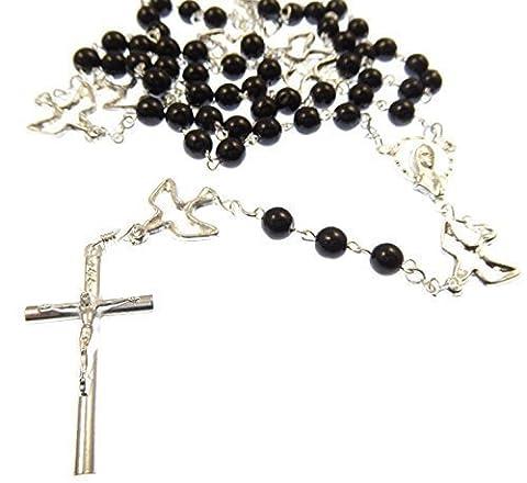 Chapelet des Sept Douleurs de collier de perles - Servites - argenté avec des connecteurs de Sainte Colombe