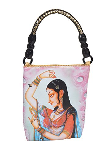 Designer Hand Bag with Digital Print - Ancient Woman Design Hand Purse for Ladies - Beige Jute Bag  available at amazon for Rs.370