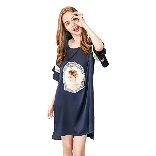 Belle Heure Damen-Nachthemd, Satin, Seidige Spitze, kurzärmlig, Schlafshirt Loungewear - Blau - Regulär