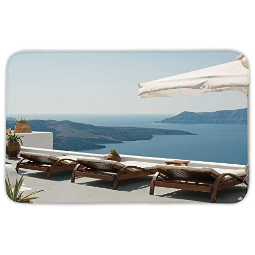 ZHIZIQIU Rectangular Area Rug Mat Rug,House Decor,Modern House Beautiful Patio with Pool Outdoor Wooden Deck Timber Residence,Home Decor Mat with Non Slip Backing (Rag Teppiche 4 X 6)