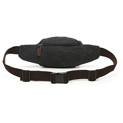 Outreo Marsupio Moda Borse da Viaggio Sport Bag Borsa da Uomo Tasca Outdoor Marsupi a Fascia Borsello Vintage Sacchetto per Escursioni Trekking Nero
