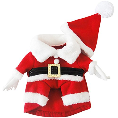 Haustier Kleidung, Hmeng Hundewelpen Kleidung Weihnachten Niedlich Hund Welpen Wintermantel Kleidung Hund Katze Dekoration Cosplay Kostüme mit Hut für Silvester Party (L, Rot)