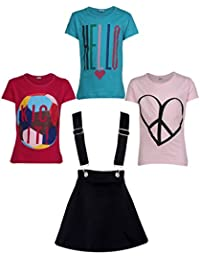 Gkidz Girls Pack of 3 Printed Cotton T-shirts with 1 Pack Stretchable Dungree Skirt (JG-GRAPHICCMB1_N_003DNGRE-BLK_Multicolor)