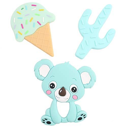 Promise Babe Silikon Spielzeug 3pc Krankenpflege Halskette Anhänger Eis Kaktus Koala DIY Baby Kinder Schnuller Clip Zubehör Lebensmittelqualität Silikon Kaubarer Schmuck Kinderspielzeug Geschenk