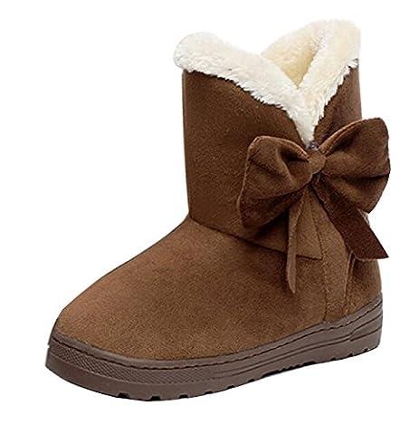 Minetom Bottes De Neige Femme Bowtie Boots Fur Inside Antidérapage Casual Flats Talon Pour Hiver ( Café EU 36