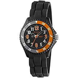 Tikkers Boy's Quartz Watch with Black Dial Time Teacher Display and Black Silicone Strap TK0115